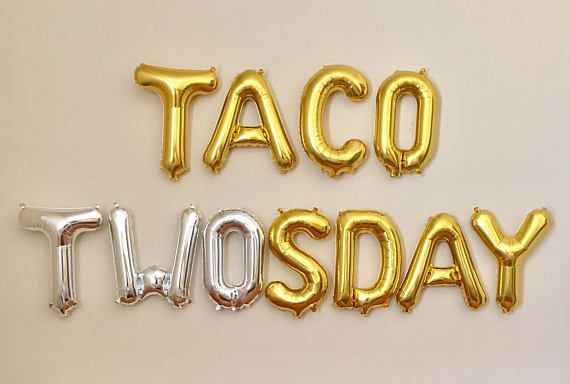 Taco Twosday Letter Balloons~Taco Tuesday~2nd Birthday Party~Two Year Old Party~Taco Bout A Party~Taco Party~16 inch Air Fill Only