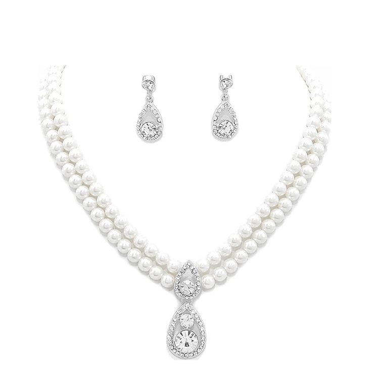 Wedding Bridal Jewellery Set White Pearl Earring and Necklace Pendant CLEAR CRYSTAL ** More details can be found by clicking on the image. #JewellerySets