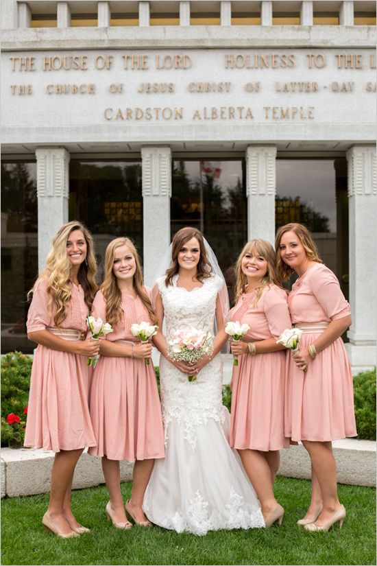 in LOVE with this vintage pink bridesmaid look with matching nude heels