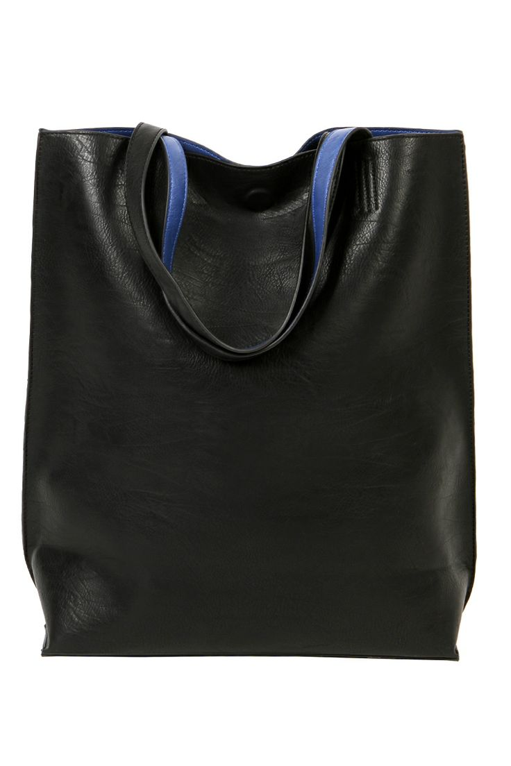 Leather look shopper bag
