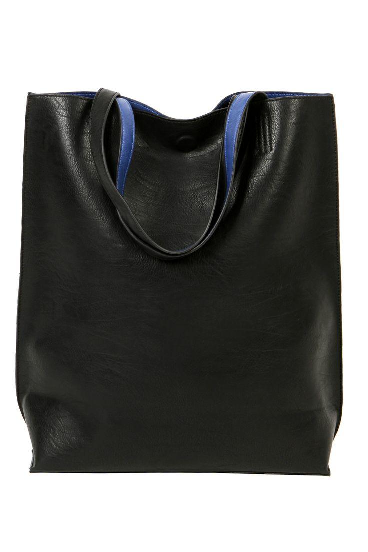 Leather look shopper bag