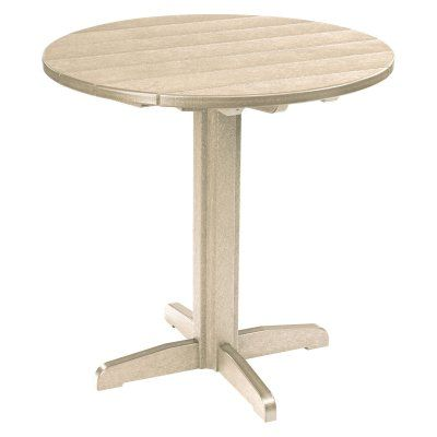 Outdoor CR Plastic Generations 37 in. Round Pub Height Table Beige - TBT23-07