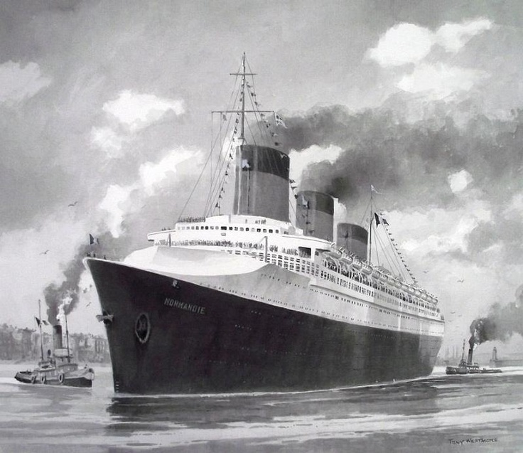 SS Normandie at Le Havre b/w paint