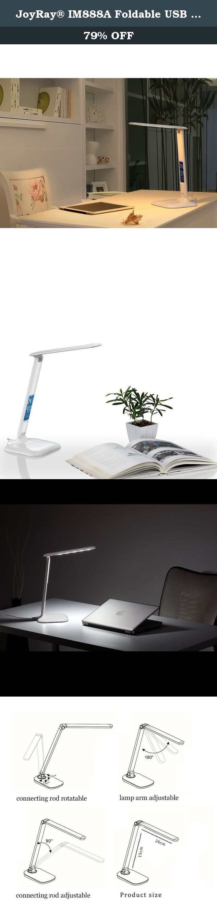 JoyRay® IM888A Foldable USB Rechargeable LED Desk Lamp with Calendar and Thermometer. Specifications: input: DC 5V 500mA Color temperature: 5000-5500Kbr> Maximum Brightness:350Lm Brightness: 3 Brightness Levels Input voltage: 100-240v Output voltage: 12V 1A Material: ASB Product Size: 17.5x12x70.2cm (LxWxH) Maximum power: 10W Color Rendering Index: >80 Illuminance (30CM): >1000 LUX Package list: LED Table Light x1 Charging Cable x1 Power Adapter x1 User Instructions x1 Portable It can be...