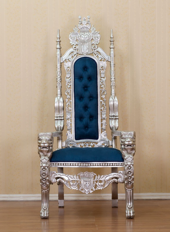 SILVER LION KING THRONE CHAIR BLUE UPHOLSTERY660 x 900 | 112.9KB | www.shopweddingthings.com
