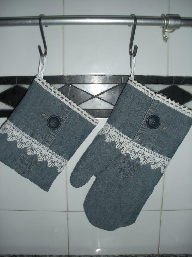 presina e guanto forno - riciclo jeans