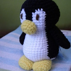 penguin knitted toy -