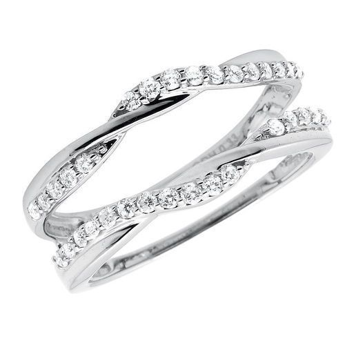 10k White Gold 1/3 ct Solitaire Enhancer Diamonds Ring Guard Wrap Wedding Band in Jewelry & Watches, Engagement & Wedding, Wedding & Anniversary Bands | eBay