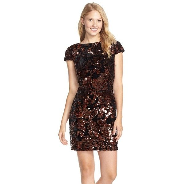 Vince Camuto Sequin Sheath Dress ($178) ❤ liked on Polyvore featuring dresses, brown dress, sequin sheath dress, cocktail party dress, short party dresses and sparkly dresses