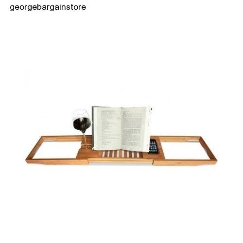 Bamboo Bathtub Caddy Soap Shelf Relax Wine Glass Book Holder Dish Style Read Jet