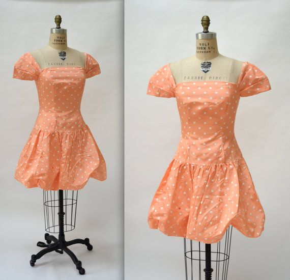 Vintage 80s Prom Dress In Peach with Polka Dots by Hookedonhoney
