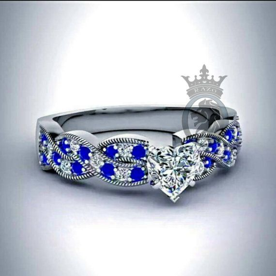 Doctor Who Inspired Diamond and Sapphire Infinity Heart Cut  Engagement Promise Ring