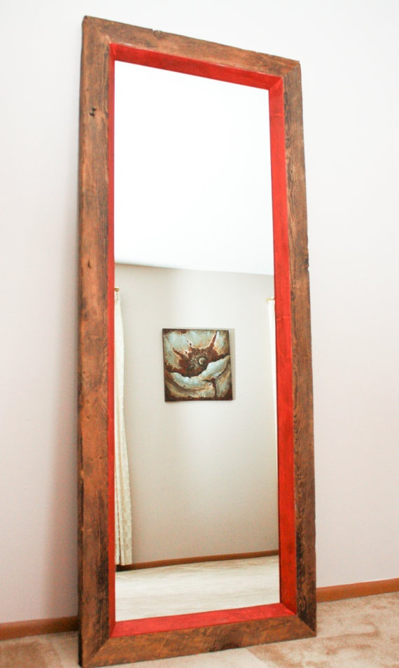 Reclaimed wood floor mirror - Seminary Ave., Chicago, IL  This floor mirror is had crafted from a recalimed floor joist removed from a build on Seminary Ave in Chicago. The deep red trim is not reclaimed but adds an Urban flair to this beautifully rustic piece.   $525 http://www.etsy.com/shop/RowSyl