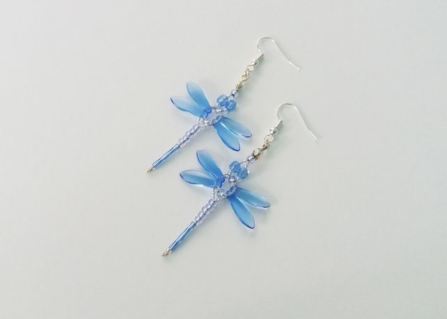 Beaded Dragonflies Earrings – Light Blue £10.00