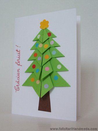 Felicitare origami brad Crăciun / Origami Christmas Tree Card