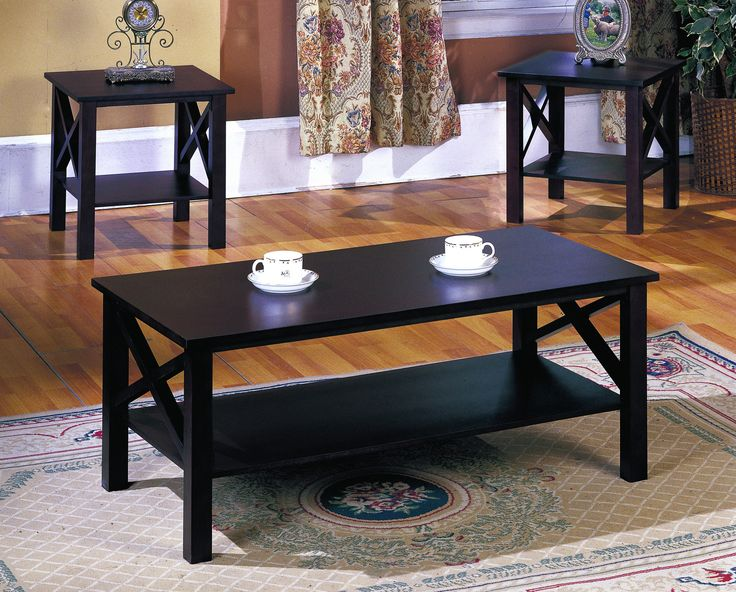 3 piece cherry wood casual occasional cocktail coffee 2 end tables set with storage shelf x design