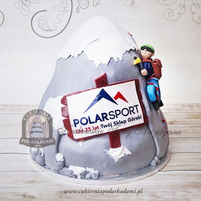188BA Tort firmowy dla sklepu górskiego - wspinacz na ośnieżonej górze. Mountain climbing cake.
