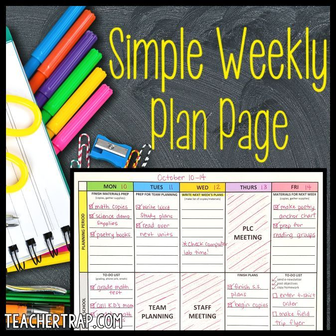 A free editable planning page and tips for organizing your teacher week!