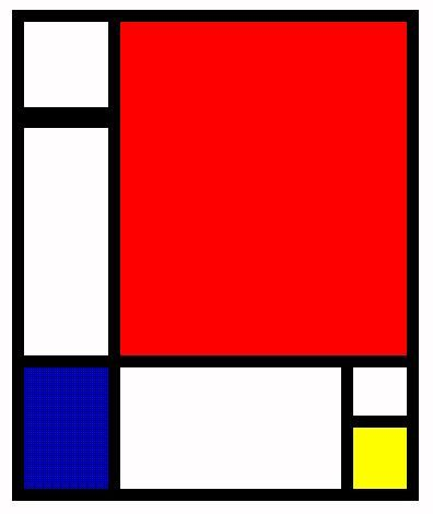 1915 - Piet Mondrian  In the early 1900s many artists tried various abstract ways of representing reality. Mondrian went beyond them. In his final compositions he avoided any suggestion of reproducing the material world. Instead using horizontal and vertical black lines that outline blocks of pure white, red, blue or yellow, he expressed his conception of ultimate harmony and equilibrium.