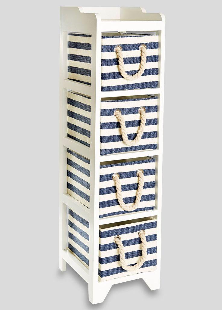 4 Drawer Stripe Wooden Tower Unit (24.5cm x 29cm x 95cm) - Matalan