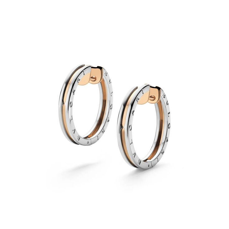 BZero1 Pink Gold and Steel Earrings 345503