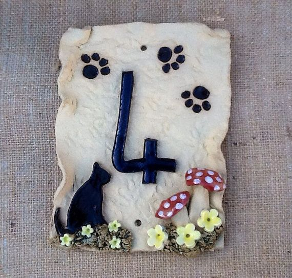 House number plaque ceramic door number cat and paw by Sallyamoss, £22.00