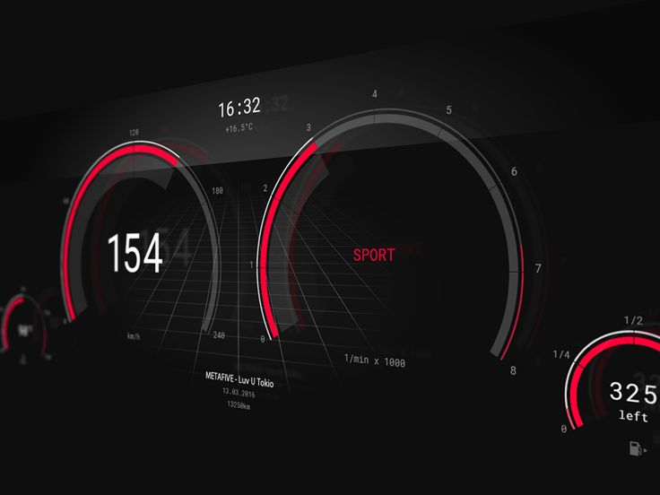 Concept for a car interface I'm working on. This is the SPORT mode in red. For each mode there is another color theme.