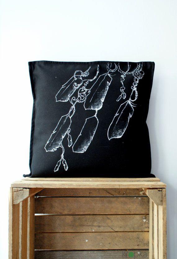 Steampunk pillow case Black throwpillow hand by KropkaDesign