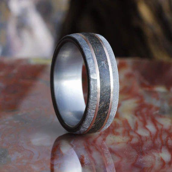 Dinosaur Bone Ring With 14k Rose Gold Pinstripes by jewelrybyjohan