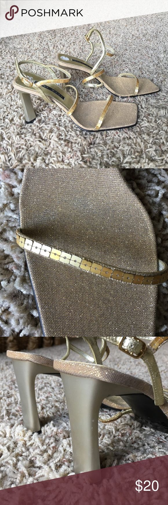 """Nine West Gold High Heel Sandals Size 6 New without tags or box gold evening sandals. 3"""" heel. Nine West Shoes Sandals"""
