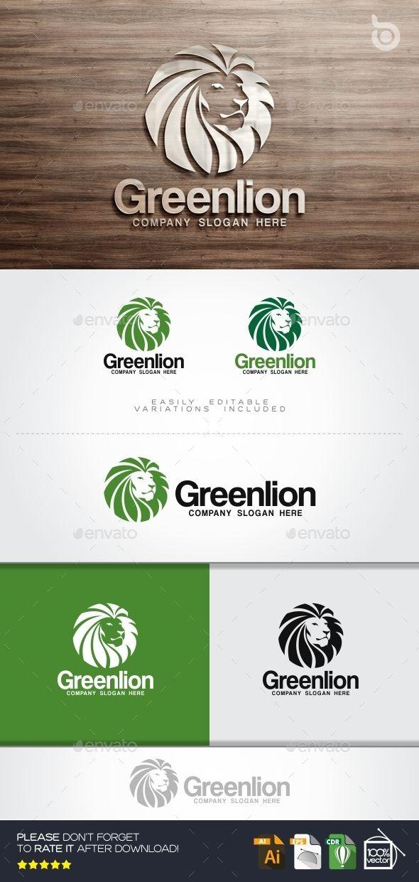 Green Lion Logo Animal