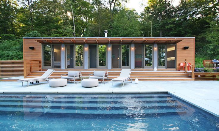 poolhouse cabin fever Pinterest - pool mit glaswand garten
