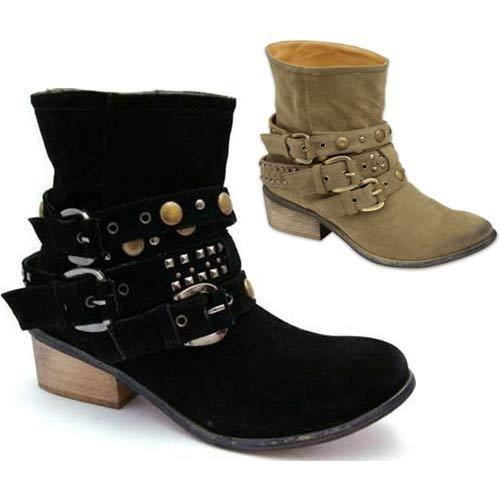 LADIES COWBOY BOOTS WOMENS ANKLE BIKER WESTERN CUBAN HEEL BOOTS SHOE SIZE 3 - 8 | eBay