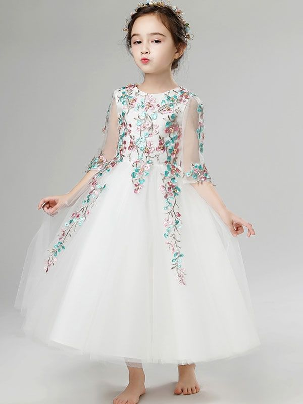51e1be658501 Embroidery Color Block Flowers Round Collar Half Sleeves Long Dress ...