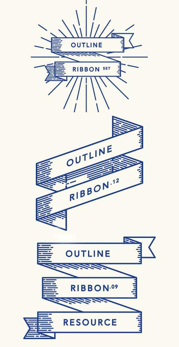 Retro Outline Ribbon Vector Set
