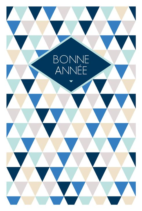Carte de vœux (holiday card) : Triangles photo - by Jeanne Triochka pour www.fairepartnaissance.fr #blue #triangles #voeux