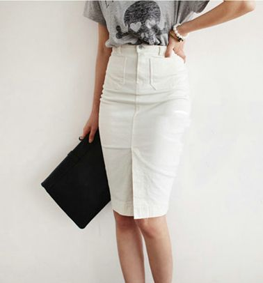Pollera De Jeans 2013 summer woman Autumn vintage high waist slim hip placketing denim skirt bust and clipping white short step US $21.20