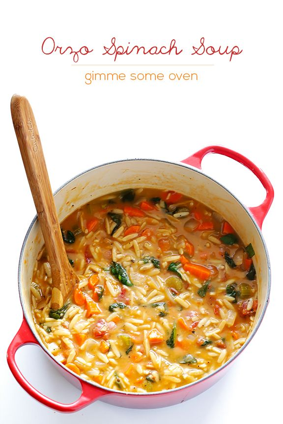This Italian Orzo Spinach Soup is simple to make, full of classic Italian flavors, and oh-so-comforting. Use Frylight in place of oil.