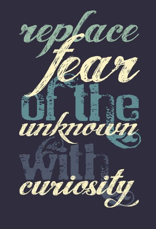 Replace fear of the unknown with curiosity.  #goal #progress #change