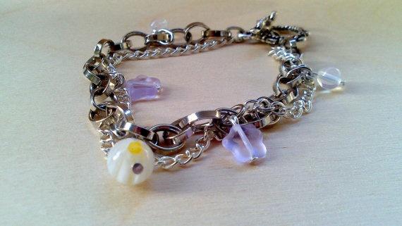 White Charm Bracelet Silver Chain Bracelet by EfZinCreations, $17.50