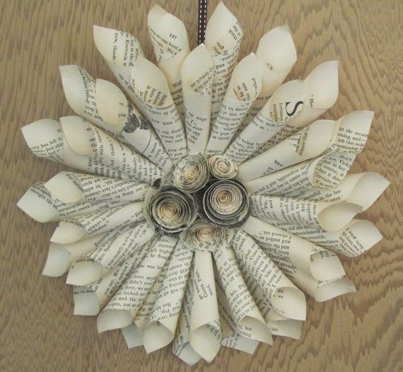 Paper wreath created using vintage book pages and paper ...