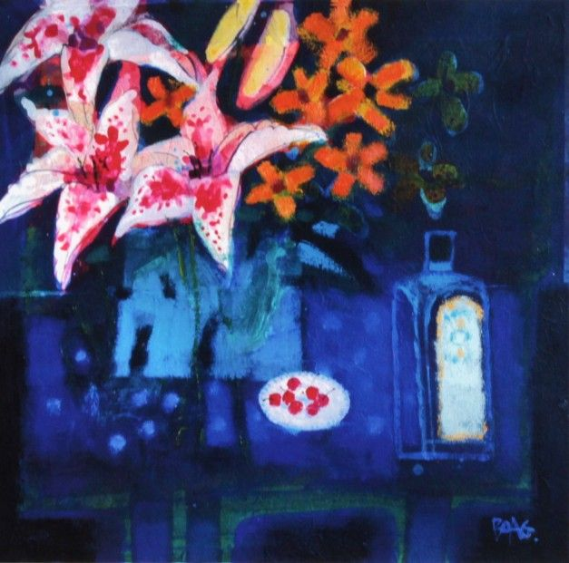 Francis Boag, Blue Table With Lilies, Signed Limited Edition Print Giclee | Scottish Contemporary Art
