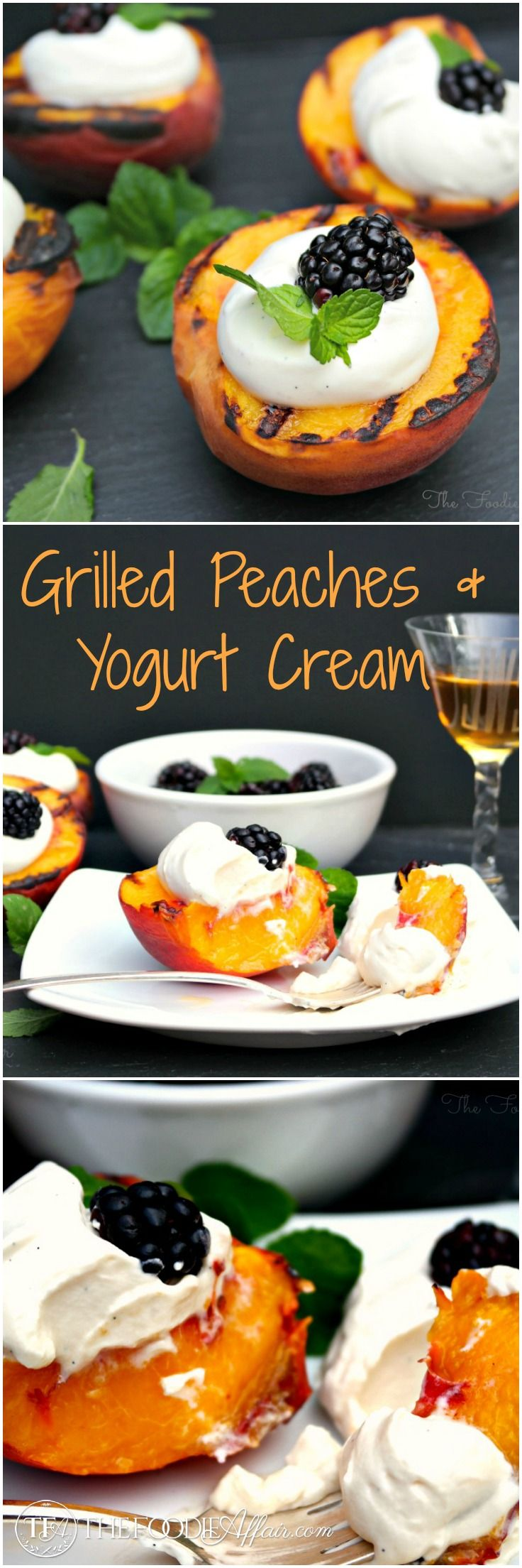 Sweet and juicy Grilled Peaches and Yogurt Cream with specks of vanilla bean seeds scattered in the yogurt and whipped cream. The Foodie Affair #peaches #grilled #summer #recipe