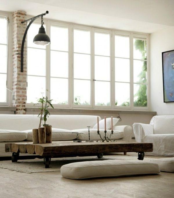 schicke Wohnung Wohnzimmer Naturstein Deko rustikale Lampe Kaffeetisch
