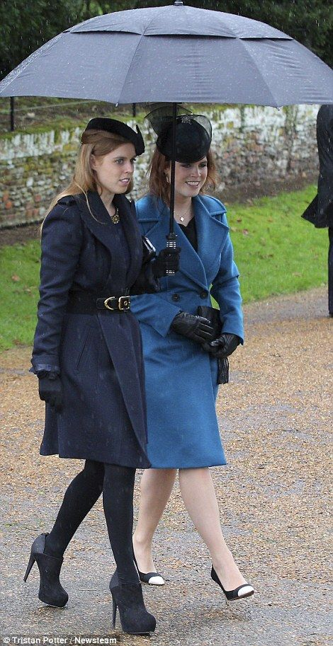 dailymail: British Royals attend Christmas service at St. Mary Magdalene Church, Sandringham, December 25, 2015-Princess Beatrice and Princess Eugenie