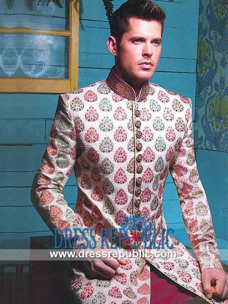 Designer Embroidered Groom Sherwani Designs 2014 by www.dressrepublic.com