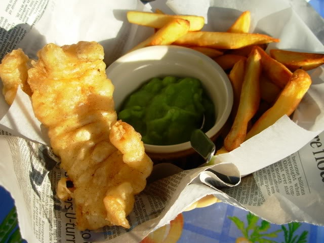 Fish and chips in a basket