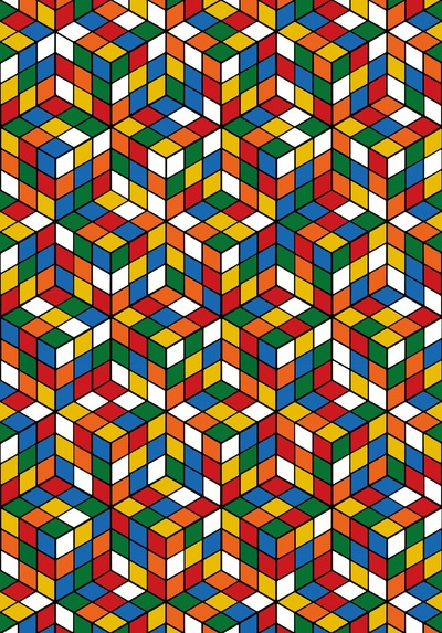 Rubiks Cubes Art Print, example of how the Rubiks cube could be used in a print.