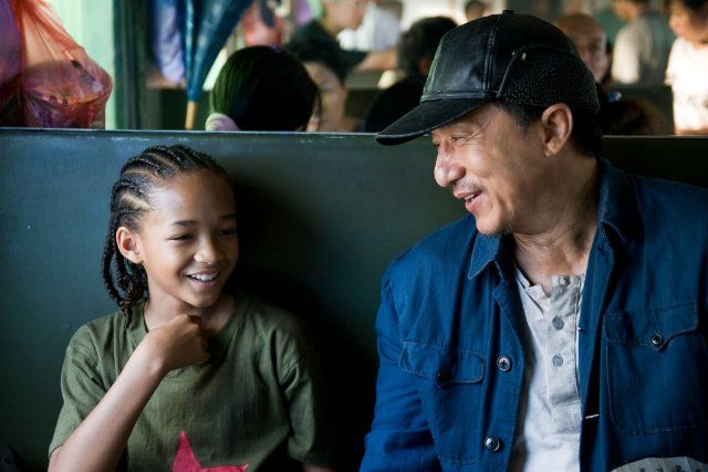 Still of Jackie Chan and Jaden Smith in The Karate Kid (2010)
