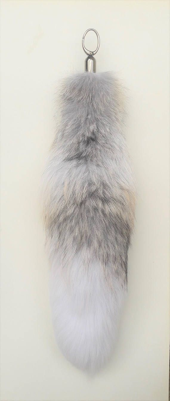 REAL fOX fUR tail  fox tail keychain  keyring  fur pom pom